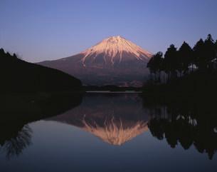 夕景の田貫湖からの逆さ富士の写真素材 [FYI04033589]