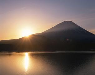 本栖湖からの日の出と富士山の写真素材 [FYI04033593]