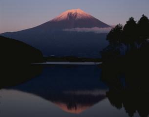 田貫湖からの逆さ富士の夕景の写真素材 [FYI04033668]