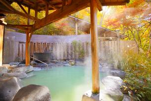 濁り湯温泉露天風呂の写真素材 [FYI04037034]