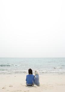 砂浜に座っている犬と女性の写真素材 [FYI04037361]