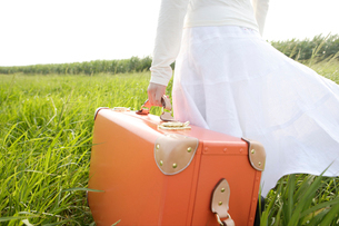 草原の中のトランクを持った女性の写真素材 [FYI04037376]