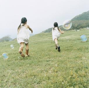 野原を駆ける女の子2人の後姿の写真素材 [FYI04037990]