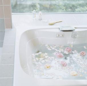 花びらを浮かべたバスタブの写真素材 [FYI04038097]