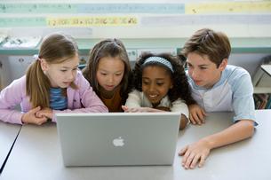 教室でパソコンをみる子供達の写真素材 [FYI04038741]