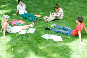 芝生に座る学生達の写真素材 [FYI04038995]