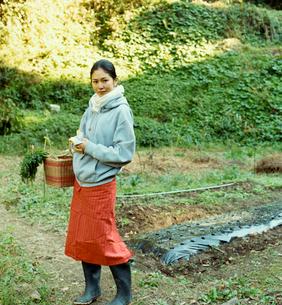 籠を手に畑に佇む日本人女性の写真素材 [FYI04040130]