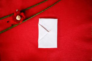 袱紗と布でできた椿の写真素材 [FYI04040594]