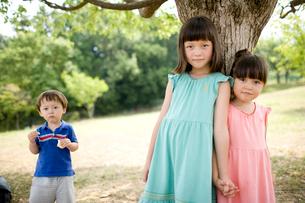 木陰でくつろぐ子供達の写真素材 [FYI04040841]