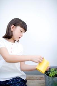 鉢植えに水を遣る女の子の写真素材 [FYI04040897]