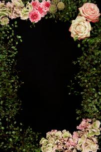 花で作ったフレームの写真素材 [FYI04041040]