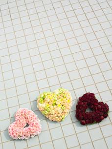 スプレーバラで作った3色のハートの写真素材 [FYI04041063]