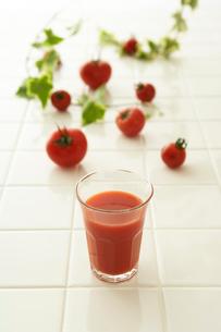 トマトとトマトジュースとアイビーの写真素材 [FYI04041138]
