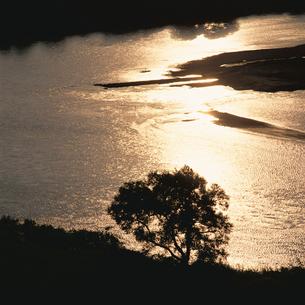 千曲川と夕景の写真素材 [FYI04041195]
