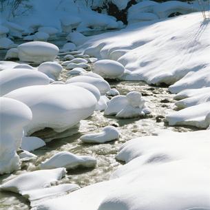 雪の渓流の写真素材 [FYI04041199]