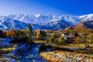 白馬村大出公園より紅葉の白馬村と冠雪の白馬三山の写真素材 [FYI04043646]