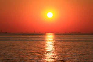 夕日に輝く海 初冬の夕照 幕張より 後方は東京のビル群の写真素材 [FYI04043660]
