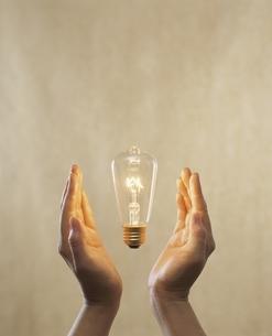 電球と手 合成の写真素材 [FYI04047896]