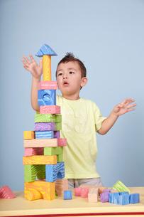 子どもと積み木の写真素材 [FYI04047965]
