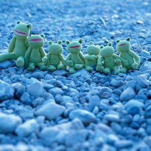 石の上に座る7匹のぬいぐるみのカエル フォトイラストの写真素材 [FYI04049883]