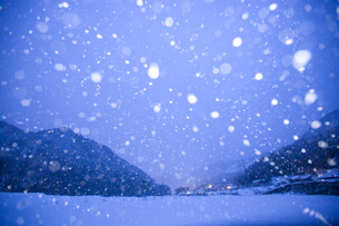 降る雪と民家の灯りの写真素材 [FYI04050008]