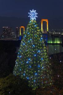レインボーブリッジとお台場クリスマスツリー夜景の写真素材 [FYI04050176]