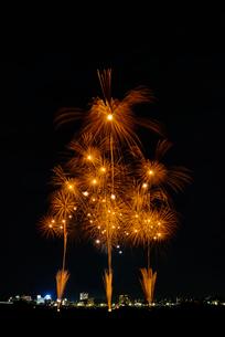 とりで利根川大花火の和火花火で飛天の舞の写真素材 [FYI04050192]