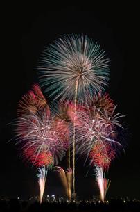 とりで利根川大花火の花の舞、蝶の舞の写真素材 [FYI04050229]