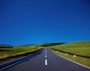 丘へ向かう道   宗谷丘陵 北海道の写真素材 [FYI04050825]