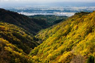 紅葉の山並みと横手盆地の写真素材 [FYI04051079]