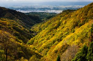 紅葉の山並みと横手盆地の写真素材 [FYI04051081]