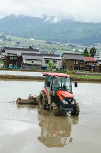 トラクターによる田起こし作業の写真素材 [FYI04051206]