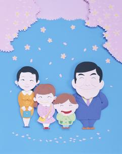 入学式の家族とサクラの花 クラフトの写真素材 [FYI04051503]