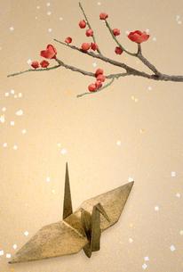 紅梅と折り鶴の写真素材 [FYI04051879]