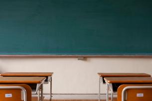 教室の黒板と机の写真素材 [FYI04052490]