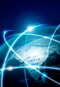地球儀 光の行交うインドの写真素材 [FYI04052618]