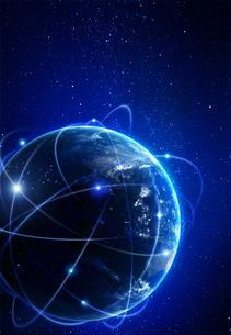 光の飛び交う地球イメージの写真素材 [FYI04052619]