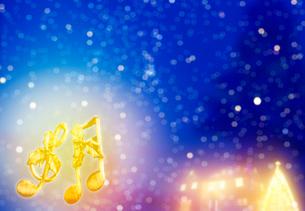 音符と家のあるクリスマスイメージの写真素材 [FYI04052659]