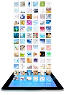たくさんのアイコンとタブレットPCの写真素材 [FYI04052728]