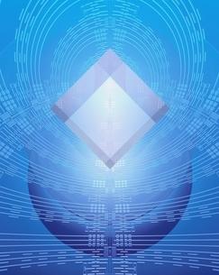 エレクトロニクスパターンと透明のキューブのイラスト素材 [FYI04053086]