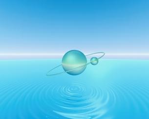 水面に浮かぶ球体(水色) CGのイラスト素材 [FYI04053087]