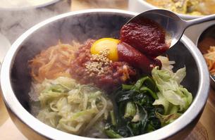 韓国料理のユッケビビンバと辛みその写真素材 [FYI04053795]