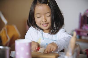 ままごとをして遊ぶ女の子の写真素材 [FYI04058216]