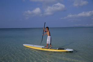 パドルサーフィンをする男の子の写真素材 [FYI04058392]