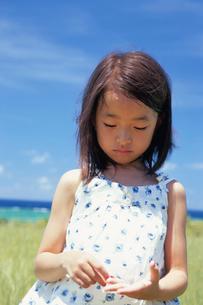 草むらに立つ女の子の写真素材 [FYI04058424]