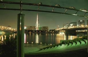 パレットタウン観覧車とビル群の夜景の写真素材 [FYI04058790]