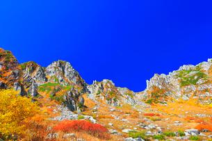 秋の中央アルプス千畳敷カール 紅葉と快晴の空の写真素材 [FYI04060883]