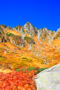 秋の中央アルプス千畳敷カール 紅葉と快晴の空の写真素材 [FYI04060887]