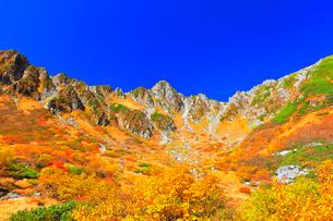 秋の中央アルプス千畳敷カール 紅葉と快晴の空の写真素材 [FYI04060910]