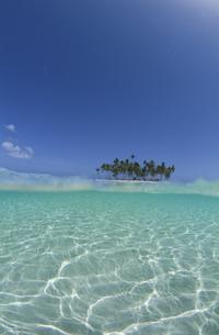水中から見た青空と島の写真素材 [FYI04061266]